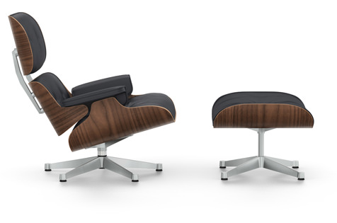Sessel Lounge Chair mit Ottoman Neue Maße 2010 | Nussbaum schwarz pigmentiert | schwarz