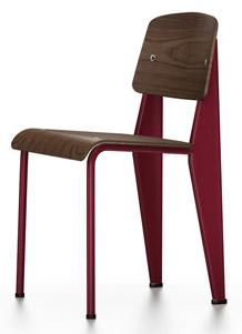 Standard Chair Nussbaum schwarz pigmentiert | japanese red | Gleiter für Teppichboden