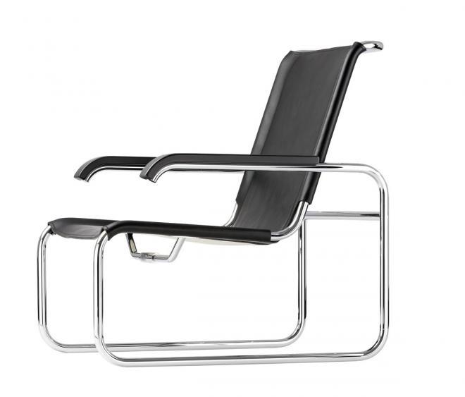 Sessel S 35 L Kernleder schwarz, Armlehne TP 29 schwarz