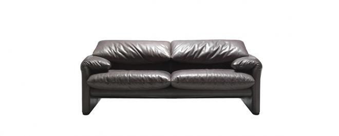 Sofa 675 Maralunga Maxi 2-sitzig | Leder anthrazitgrau